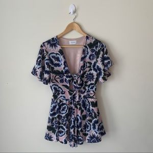 Adrienne Floral Front Keyhole Romper
